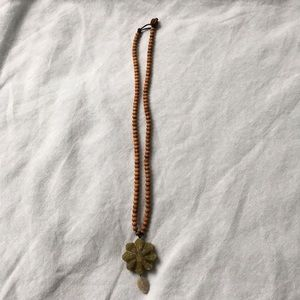 Vintage Anthropologie Rosewood and Jade necklace .